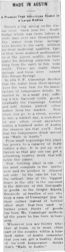 1911 Austin Bottling Works article - August 26th