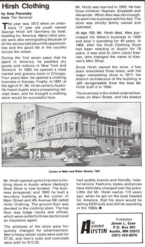 Hirsh's Clothing Store (later named Keenan's) Austin, Mn