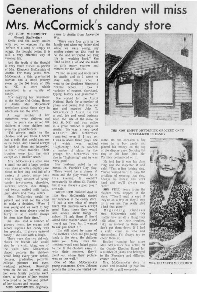 Mrs. McCormick's Candy Store article - December 8th, 1972