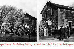 Headquarters Building being moved in 1947 to the Fairgrounds Austin, Mn