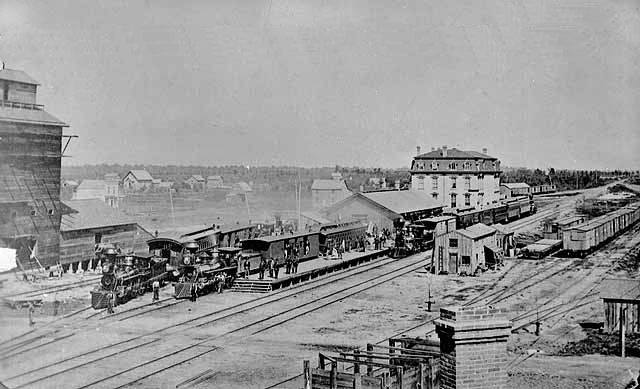 Looking across the Train Yards towards the NW - 1874 Austin, Mn