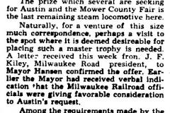 Locomotive gift article - April 13, 1957 Austin, Mn