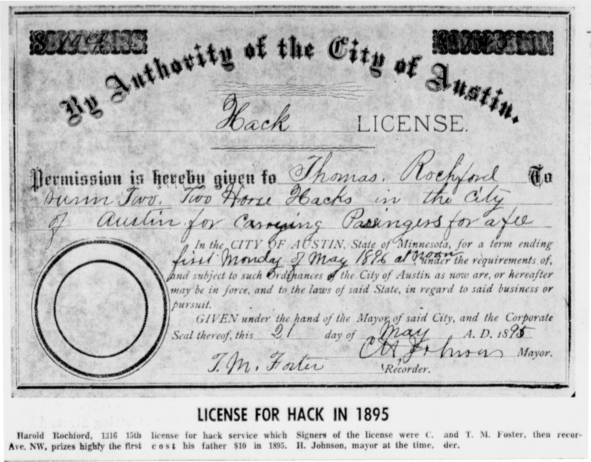 1895 Hack License article - November 9th, 1966
