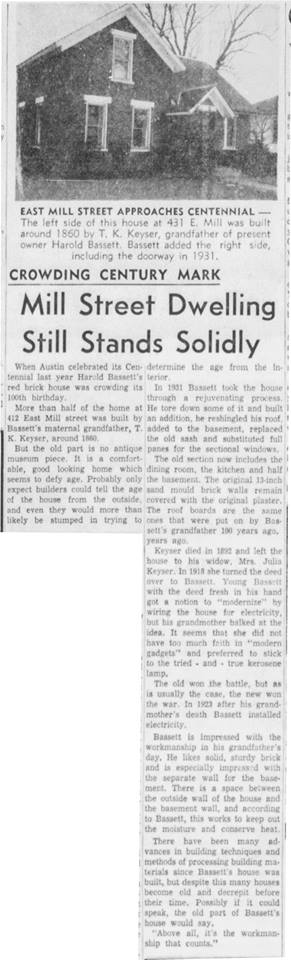 House on Mill St. article - March 29th, 1957