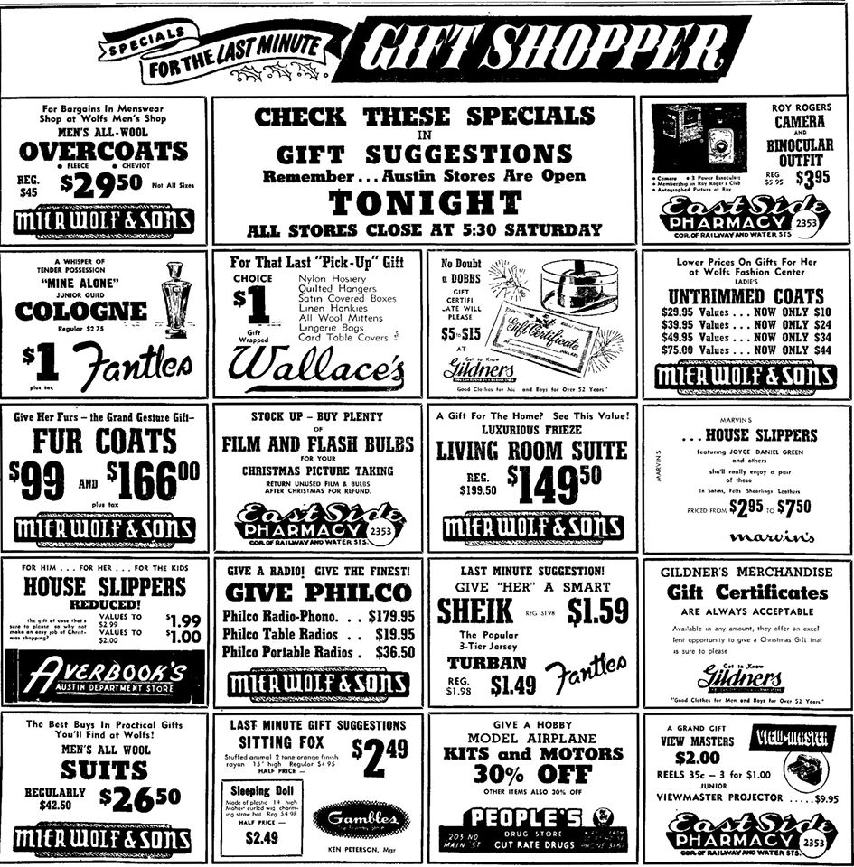 Shopping ad - December 22, 1950 Austin, Mn
