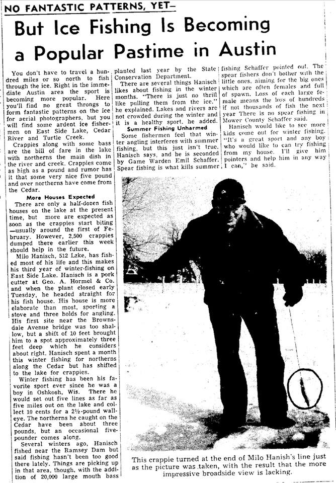 Ice fishing 1953 Austin, Mn