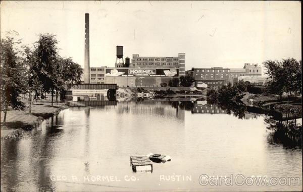 Austin postcard of the Cedar River hormel plant