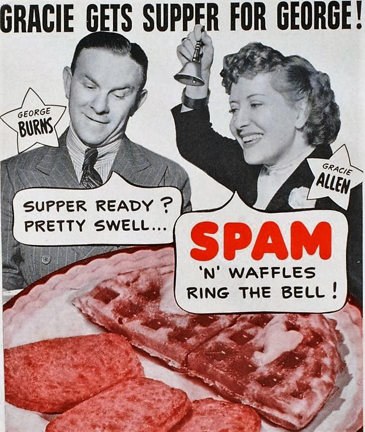 Burns and Allen ad for Spam. 1940's