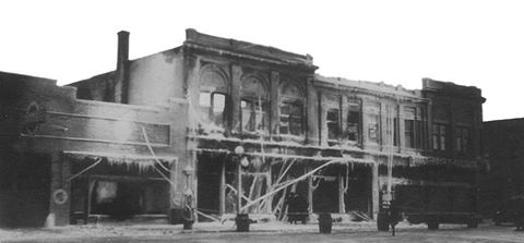 Hirsch Building fire - 1928. (only part of the building that was saved is what is there today)
