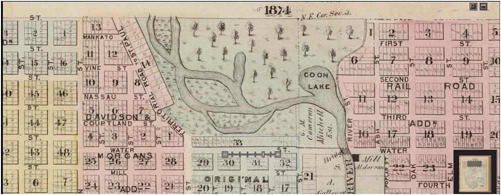 Austin plat map from 1874 showing a much different course of the Cedar River