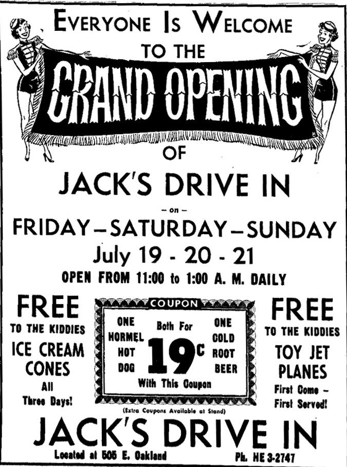 Jack's Drive-In ad - July 19th, 1957 Austin, Mn