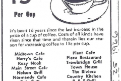 Coffee 15 cents in 1966 Austin, Mn