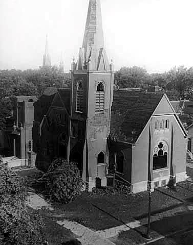 1928 Tornado Damage - 7 (hit original St. Olaf Lutheran Church. Steeple is ready to fall over after being hit)